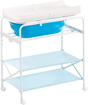 Baby Changing Change Table Station with Wheels Storage Trays and Bath Tub Unit