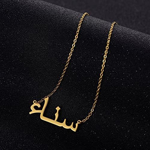 CXWK Personalisierte Schrift Anhänger Anhänger Halsketten Edelstahl Goldkette Benutzerdefinierte arabische Name Halskette Frauen Geschenk