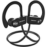 Bluetooth headphones, TRINIDa IPX7 Waterproof Sport Wireless headset for running, Best In ear earbuds HiFi Stereo with Mic 10 hours playback Gym workout passive Noise Cancel wireless earphones (BLACK)
