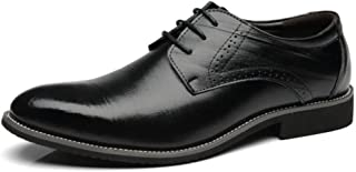 Bin Zhang Dress Oxfords  for Men Business Loafers Lace up Faux Leather Ponited Toe Burnished Style Block Heel Soft Stitching (Color : Black, Size : 9 UK)