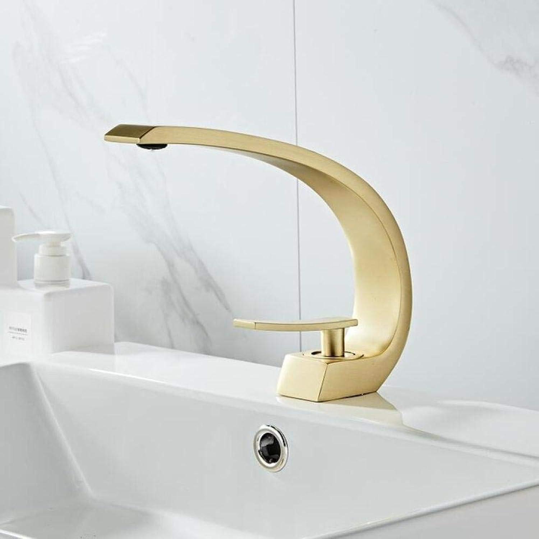 QFSLT Waschbecken Wasserhahn Gebürstet Gold Waschbecken Mischbatterie Messing Waschbecken Wasserhahn Einhand Einlochmontage Kran Für Badezimmer 7 Farben