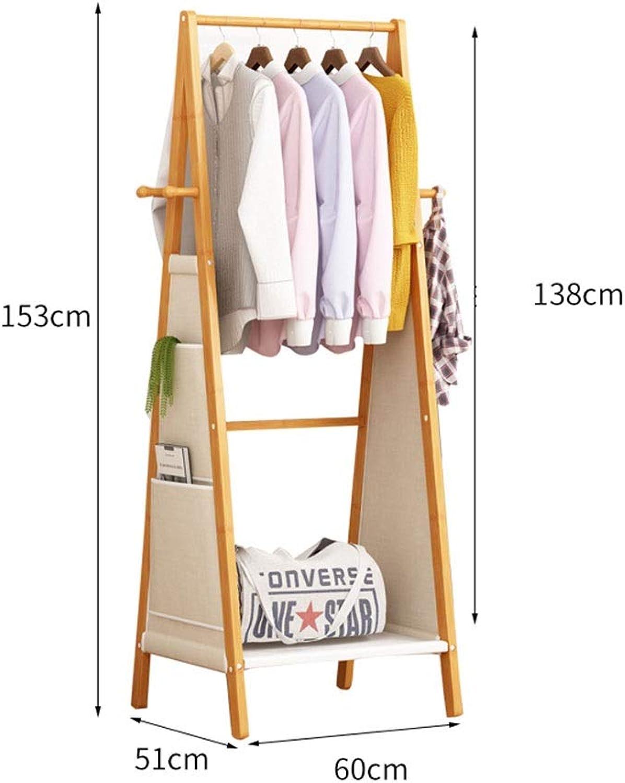 JIAYING Coat Racks Coat Rack, Floor-Standing Bamboo Hanger Bedroom Living Room Corridor Multi-Function Hanger Hanging Rod Rack Multiple Storage Space Home Storage Rack Multifunction (Size   60CM)