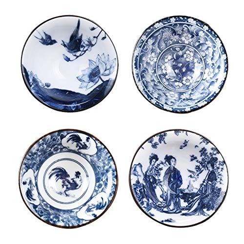 LIUFS Juego de 4 Tazas de Té de Porcelana, Tazas de Porcelana Fina Azul y Blanca Diseño Floral Vintage Tazas de Té de La Tarde Regalo para Familiares Amigos Cumpleaños Día de San Valentín