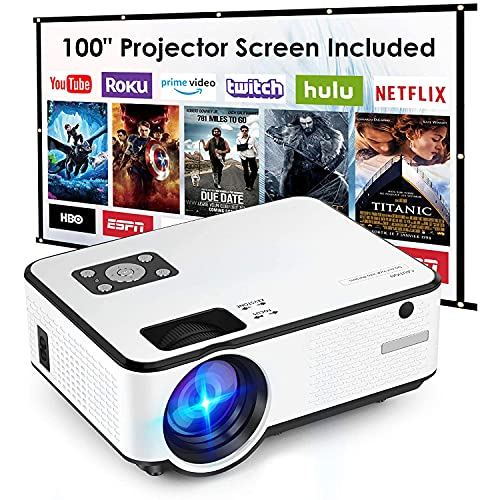 DOOK Mini Proyector 1080P Full HD,Proyector Portátil de 5500 Lúmenes con Pantalla Máx de 176',Proyector LCD de 65000 Horas,Proyector Cine en Casa Compatible con HDMI/AV/USB/SD/VGA