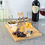 Classic Cuisine 9 Piece Bamboo Cheese Serving Tray Set with Stainless Steel Cutlery and Dip Dish-Durable and Eco-Friendly Charcuterie Board, Wood