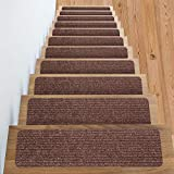 Stair Treads -Non Slip Carpet Stair Treads + Double Sided Tape - Set of 13 Premium Non Skid Indoor treads for Wood Stairs (30 inch X 8 inch) (Brown)