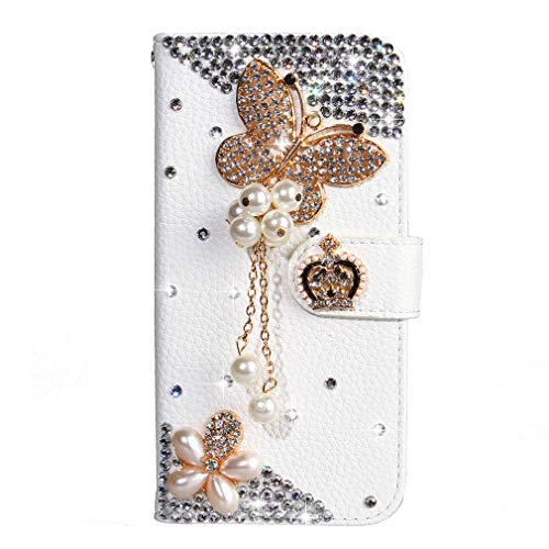 LMFULM® Hülle für Honor 5C / Huawei 7 Lite/Huawei GT3 (5,2 Zoll) PU Leder Magnet Brieftasche Lederhülle Bling Glitter Strass Goldschmetterling Stent-Funktion Tasche Flip Cover