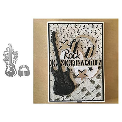 Stanzschablone für Kartenherstellung, Gitarren-Headset, Metall, für Sammelalben, Papierkarten, Alben, Bastelschablone – Silber