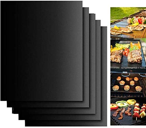 BININBOX Grill Mats Non Stick Set of 5 BBQ Grill Mat Baking Mats Teflon BBQ Accessories Grill product image