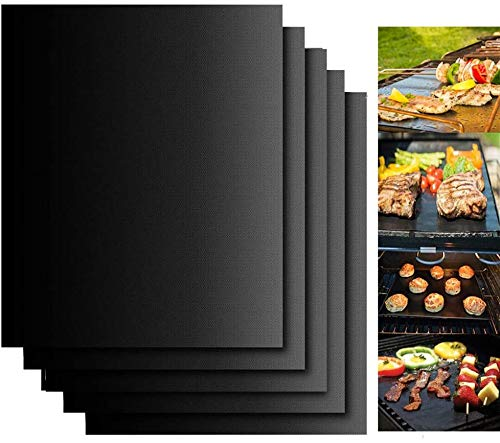 BININBOX Grill Mats Non Stick Set of 5 BBQ Grill Mat Baking Mats Teflon BBQ Accessories Grill Tools Reusable, Easy Clean Works on Gas, Charcoal, Electric Grill 15.75 x 13-Inch, Black