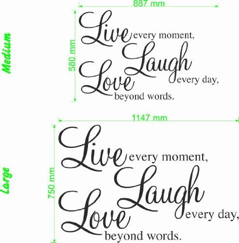 Wonderous Wall Art Live Moment-Laugh Every Day-Love Beyond Words-Wall Citation Grand Format Noir