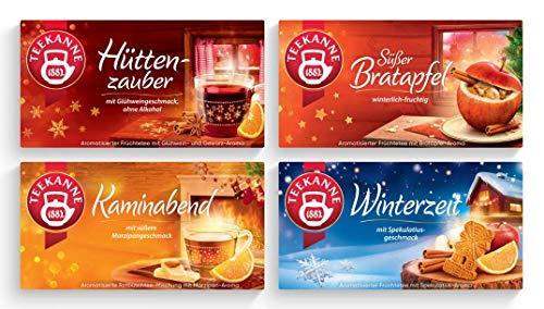 Teekanne Wintertees 4er Set - Süßer Bratapfel, Kaminabend, Hüttenzauber, Winterzeit (4x 20 Beutel)