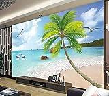 Tapete 3D Mittelmeer Schwan Kokospalme Riff Moderne Wohnzimmer Schlafzimmer Großes Wandbild Wanddekoration-350cmx256cm Fototapete - Vlies - Wandsticker - Plakatdekoration