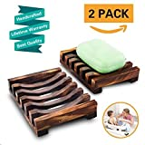2 Piece Bathroom Wooden Soap Case Holder, Sink Deck Bathtub Shower Dish, Rectangular