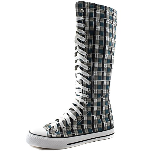 DailyShoes Women's Sneaker Boots Bootie Knee High Mid Calf Tube Fashion Sneakerss Lace Up Riding Snow Lace-up Super Top Athletic Shoes for Women Punk-hi Blue Wht Plaid 12