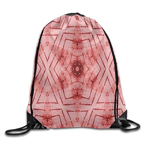 Etryrt Turnbeutel/Bedruckte Sportbeutel, Drawstring Backpack Symmetric Lined Tied Hazy Geometric Triangle Figures with Little Flower Ikat Pattern Drawstring Gym Sack Sport Bag for Men and Women