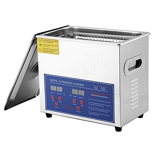 TOPQSC Digitaler Ultraschallreiniger, 3L Gewerbehaushalt Ultraschall Reinigungsmaschine, mit Heizkorb, einstellbare Temperatur, für Schmuck, Ring, Brillen, Metallteile