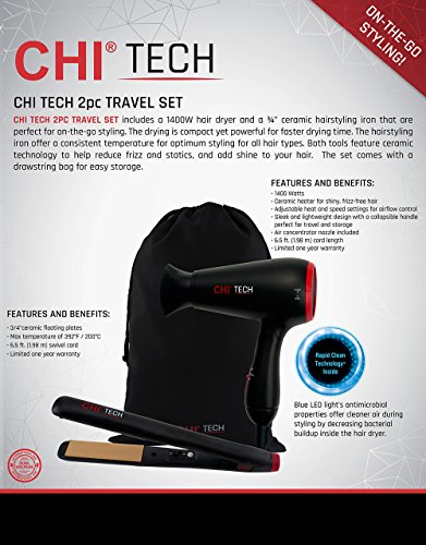 CHI Tech Hair Dryer and Ceramic Hairstyling Iron - 2 Piece Travel Set Idaho