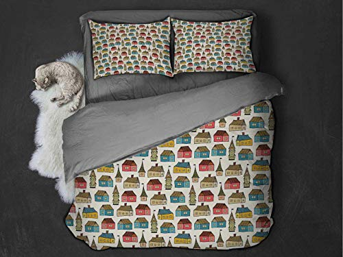 Toopeek Dutch hotel bed linen Hand Drawn Houses Cartoon Dutch Town Abstract Sketch Style Drawing Urban Illustration polyester - soft and breathable (Queen) Multicolor