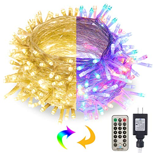 Twinkle Star Christmas Lights, 66FT 200 LED Color Changing Tree String Lights, Plug in 11 Mode Functions Warm White & Multicolor Light, Remote Connectable 29V Safe Adapter for Xmas Party Decoration