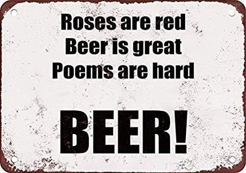 Letrero de metal de 20 x 30 cm, diseño de rosas son rojas, cerveza es grande, poemas son duros cerveza arte placa decoración del hogar Wll para café bar habitación decoración vintage