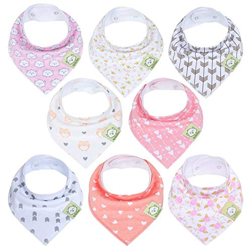 Organic Baby Bandana Drool Bibs for Girls - Super Absorbent Organic Cotton Bandana Bibs - Baby Drool Bib - Teething Bibs - Handkerchief Bibs for Infant, Toddler - 8-Pack Bib Set (Pink Dreams)