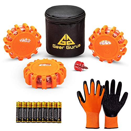 Gear Gurus LED Road Flares Kit - Flashing Warning Light Emergency Disc Beacon Roadside Flare Safety Light Magnetic Base for Car Truck Boat - Batteries Screwdriver Gloves Storage Bag Included (1-Set)