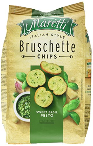 Maretti Bruschette Chips - Sweet Basil Pesto - Brotchips mit süßem Pesto - Bruschetta Chips - 150g