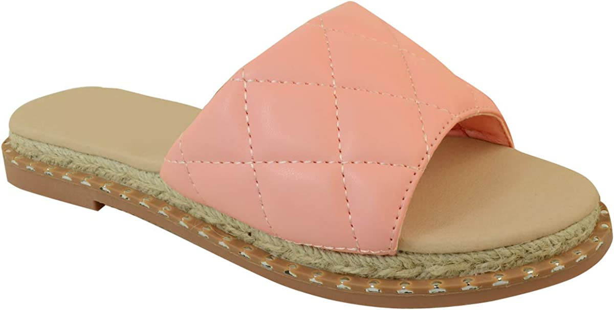 Fashion Thirsty NEW before selling ☆ Womens Flat Sliders On Espad Cheap sale Slip Comfort Padded