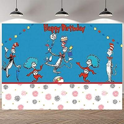 Dr-Seus Cat Hat Theme Backdrop Cartoon Blue Pho...