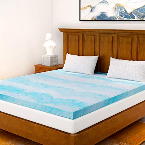 Milemont Mattress Topper Full, 2-Inch Cool Swirl Gel Full CertiPUR-US Certified Blue