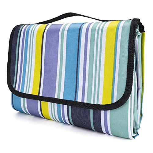 Oziral Picknickdecke 200x200cm, Picknickdecke Wasserdicht hergestellt aus Verschlüsseln 600 Oxford Stoff und PVC Schicht, Picknickdecke für Reisen, Picknick, Camping (Blau)