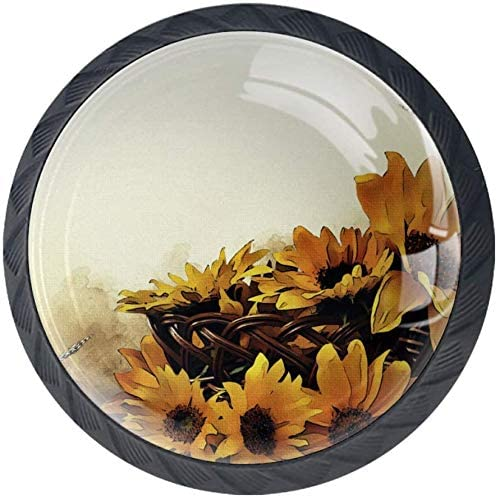 4 Pack Round Kitchen Cabinet Retro Pulls Flowers Opening large release sale Elegant Painting Knobs