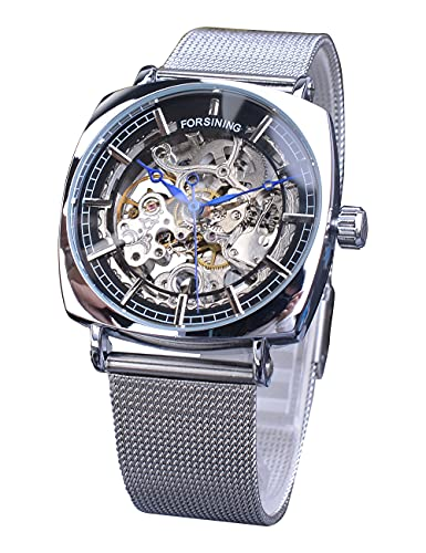 Forsining Reloj mecánico único de esqueleto cuadrado para hombre, a la moda, analógico, automático, con correa de malla plateada, con manecillas azules