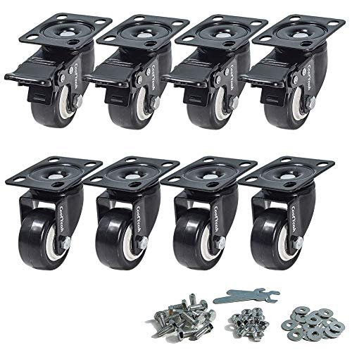CoolYeah 2 inch Swivel Plate PVC Caster Wheels, Premium Casters (Pack of 8, 4 with Brake & 4 Without)