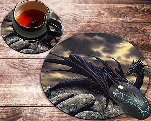 Round Mouse Pad and Coaster Set, Dragon Mousepad, Non-Slip Rubber Base Gaming Mouse Pads for Working Or Game