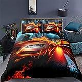 MMHJS 3-Teiliges Bettbezug-Kit Aus Mikrofaser 1 Bettlaken 2 Kissenbezüge Bettwäsche Mit Reißverschluss Realistisches Rennmuster Kreative Wohnkultur