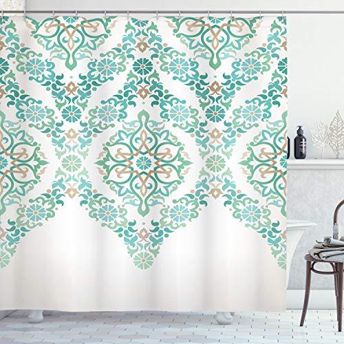 ABAKUHAUS traditionell Duschvorhang, Vintage Blumen Boho, Waschbar und Pflegeleicht mit 12 Haken Hochwertiger Druck Farbfest Langhaltig, 175 x 200 cm, Grünen Bräune