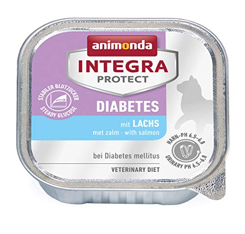 animonda Integra Protect Diabetes Katze, Diät Katzenfutter, Nassfutter bei Diabetes mellitus, mit Lachs, 16 x 100 g