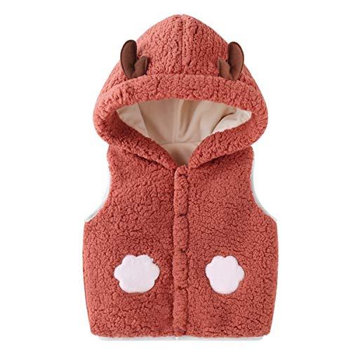 BigBig Style - Chaleco con capucha para bebé, diseño de otoño e invierno, color Rojo Marrón, tamaño 12-14M