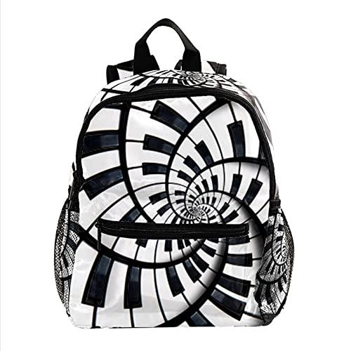 Mochila para niños con mochila para niños y niñas, Tecla de piano abstracta 17, 25.4x10x30cm,