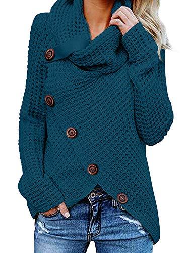 kenoce Damen Stilvoll Rollkragen Pullover lang Schlank Strickjacken Vintage Modisch Cardigan für Winter Herbst Stylisch Sweatshirts Mesh 05-Blau EU 36/Etikettgröße S