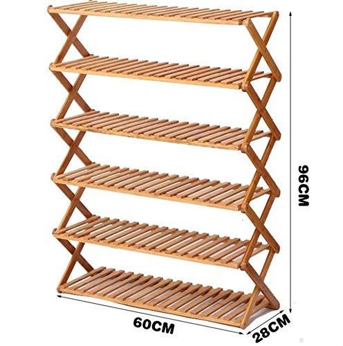 DYB Bambusschuhzahnstange 6-Shelf Schuhregal in einfachen Bambus Klappschuhschrank für Organisatoren Dekoration Regale (L) 60/70/80/90 / 100x (W) 28x (H) 96 cm (Abmessungen: 100 cm)