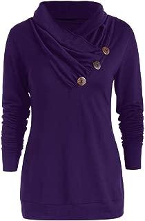 Women Long Sleeve Sweatshirt Casual Plaid Patchwork Button Turtleneck Tartan Long Sleeve Pullover Tops Loose Blouse Tunic