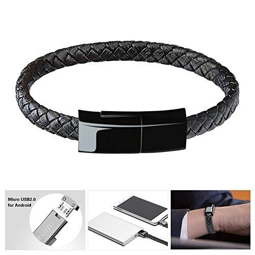 bsolli portátil Pulsera Pulsera Estilo USB Fecha Cable de Carga para Android Samsung, HTC, LG, Sony, Huawei, Motorola y más