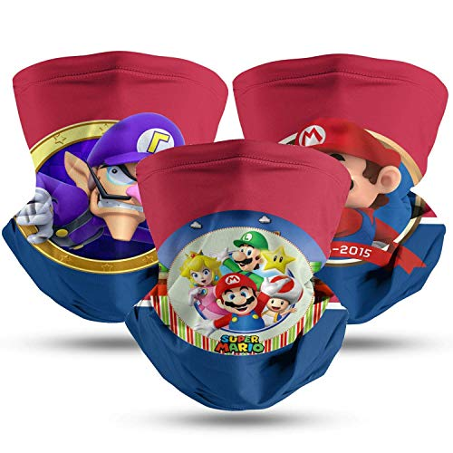 M Bros Mens Women Face Scarf Winter Neck Scarf Breathable Masks Scarf 3Pcs Headwear-Super Mario Bros-54-One Size