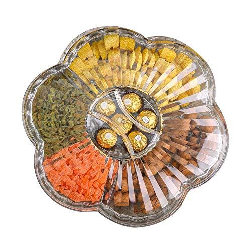HYZSGP Obstteller Salatteller, transparente Trockenfrüchte Box Wohnzimmer mit Deckel Candy Box Lagerung Süßigkeiten Tablett 32 * 10CM
