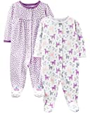 Simple Joys by Carter's Girls' 2-Pack Cotton Snap Footed Sleep and Play, Purple Unicorn, 0-3 Months