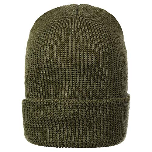 Warm Winter Watch Cap 100% Wool Beanie Made in USA to Military Specifications (1 Pack, OD Green)