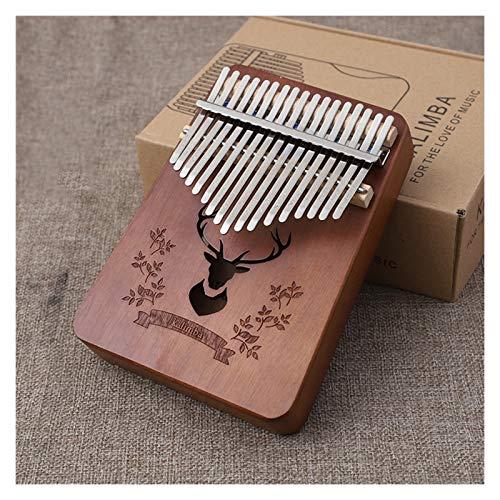 Kalimba, Daumenklavier 17 Keys Kalimba Daumenklavier Praktische Holz Mahagoni Mbira Körpermusikinstrument Geschenk mit Lernen Buch Tune Hammer (Color : Deer Brown)